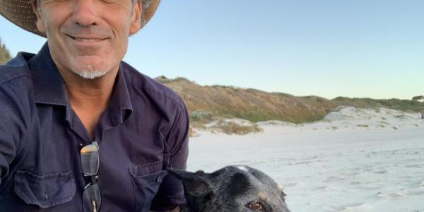 Stephen Kinnane with his dog Pearl