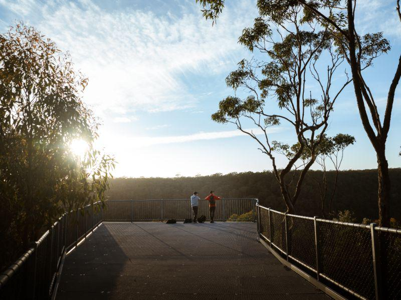 2 people at O' Hares Lookout, Dharawal National Park