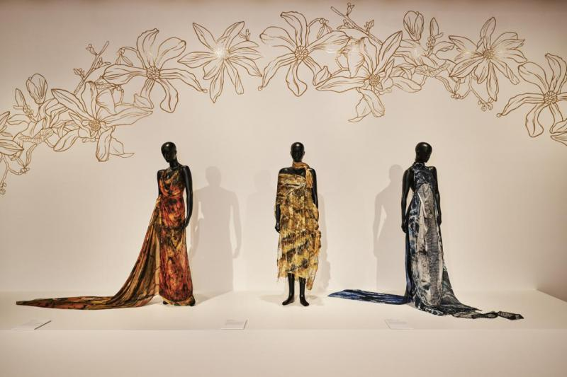 Installation View of Piinpi: Contemporary Indigenous Fashion with Designer Lyn-Al Young's work.