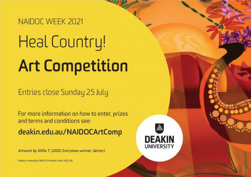 Deakin University NAIDOC Week 2021 Heal Country! Art Compeition - Artwork by Milla T, 2020 2nd place category winner